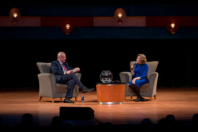 Mike Gillaspia (left) and Sylvia Earle during the spring 2017 Distinguished Speaker Series event at TAMU-CC.