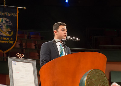 Student Government Association President Justin Bustos speak during the President's Investiture Ceremony during Inauguration Weekend on Friday, March 2nd, 2018 at Texas A&M University - Corpus Christi.