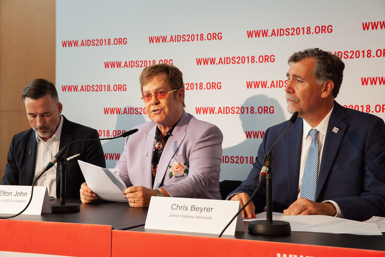 The Netherlands, Amsterdam, 24-7-2018. Pressconference Eastern Europe and Central Asia with Elton John Aids Foundation receiving a 1 million euro donation of The Netherlands.Photo: Rob Hui ...