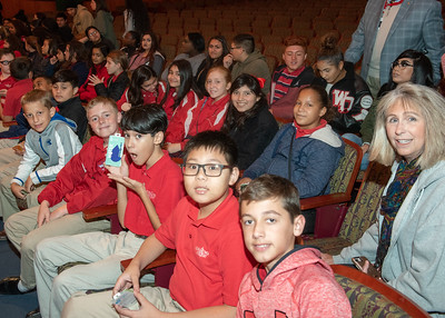 Incarcate Word Academy students take their seats before the Fall 2018 Distinguished Speaker Series Student Forum begins.