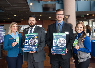 Bethany Franklin (left), Julian Lopez, Kyle Anderson, and Jaquelyn Westbrook before the Fall 2018 Distinguished Speaker Series Student Forum.