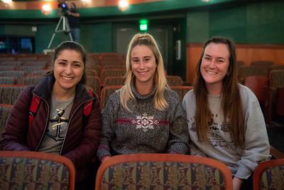 Students Megan Greige (left), Breanna Hild, and Emily Anderson at the Distinguished Speaker Series event.
