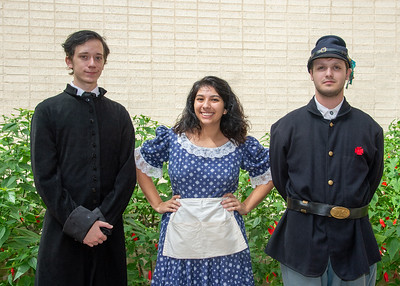 Anthony Aspell as Dr. Eli T. Merriman (left), Jennifer Cantu as Maud Hardwicke Gerhardt, and Sean Saperstein as James Downing