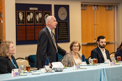 President Emeritus Dr. Robert Furgason introduces his family durng the Furgason Engineering Building naming ceremony luncheon on December 7, 2018 at Texas A&M University-Corpus Christi.