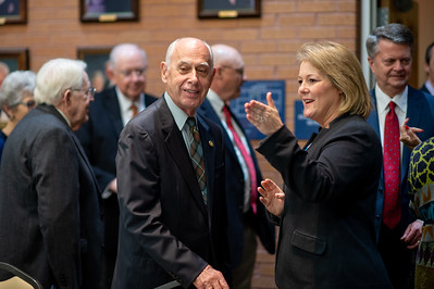 President Emeritus Dr. Robert Furgason (left), and President and CEO of TAMU-CC Dr. Kelly Quintanilla at the Furgason Engineering Building naming ceremony luncheon on December 7, 2018 at Texas A&M University-Corpus Christi.