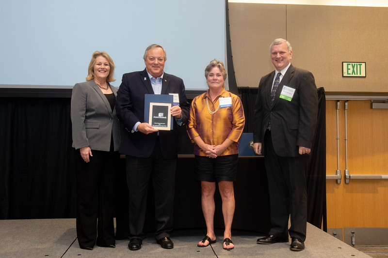 Kelly M. Quintanilla, president and CEO of Texas A&M University-Corpus Christi (left), Ben Wallace, Patt Wallace, and Dr. David Bridges.