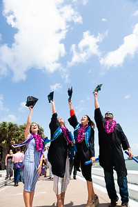 Graduates celebrate following the 2018 Summer Commencement ceremony.