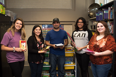 Ashlynn Kolmansberger (left), Ruth Younger, Thomas, Cantu, Samantha Hernandez, and Kimberly Gadbemy are eager to share the material in The Curriculum and Instruction Resource Library with students