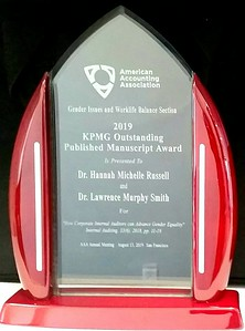 award-plaque-KPMG-manuscript-award-2019-to-Russell-n-Smith