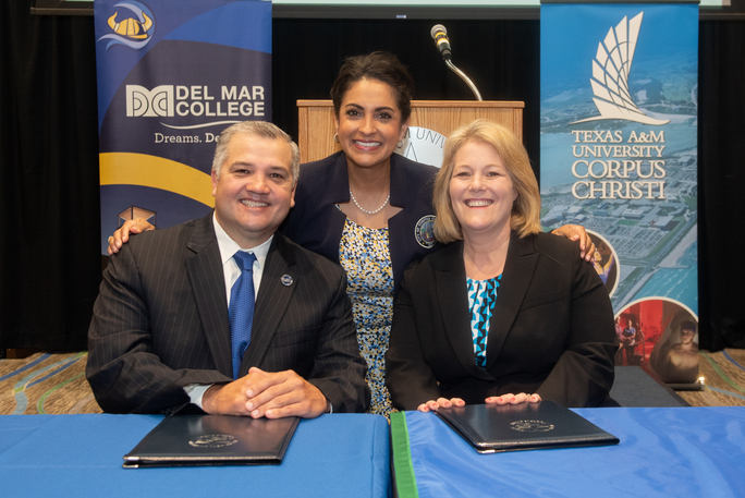 Dr. Mark Escamilla, Del Mar College president (left), Corpus Christi City Council Member at Large Paulette Guajardo, and  Dr. Kelly M. Quintanilla, president and CEO of Texas A&M University- ...