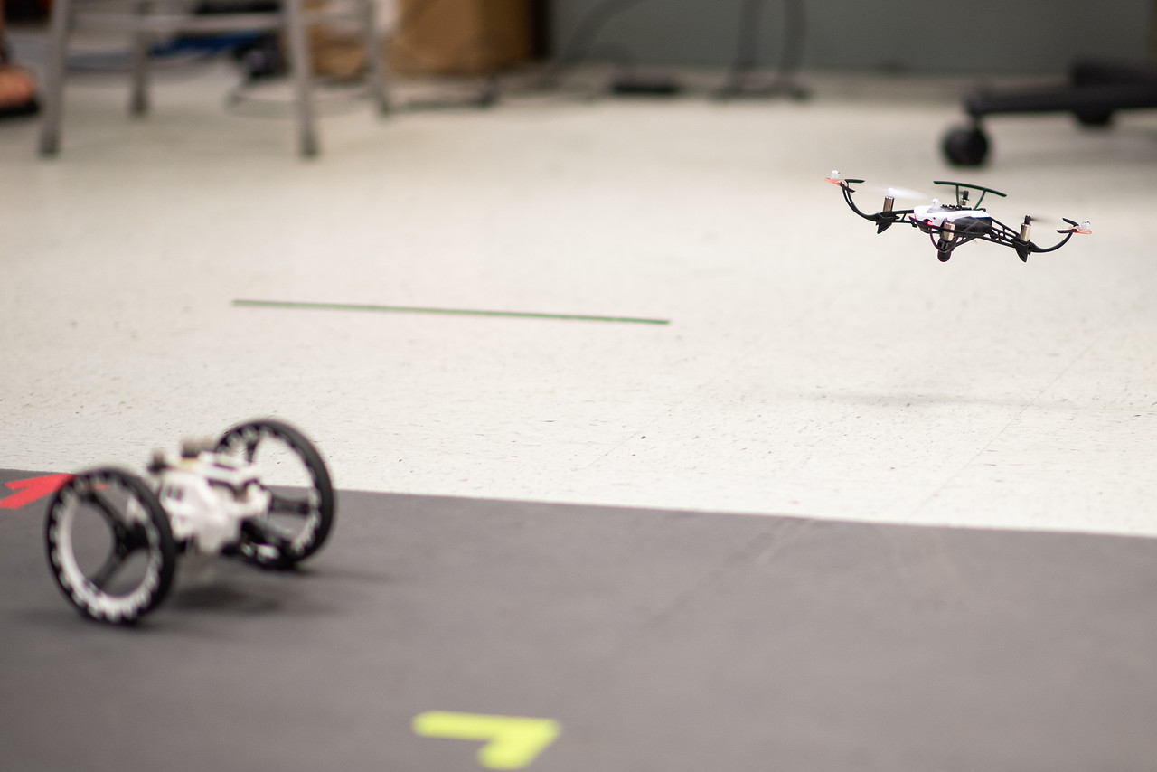 Texas A&M University-Corpus Christi Assistant Professor Dr. Luis Garcia Carrillo and his research team are working to develop an intelligent controller to allow a group of UAVs to fly togeth ...