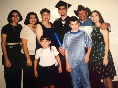 TAMUK graduation (BA) with family and niece. front left to right, Desiree (niece), Jacob (brother); back left to right, Jessica (sister), Monica (sister), Gloria (mom), me, Yndalecio (father), and Erica (sister)