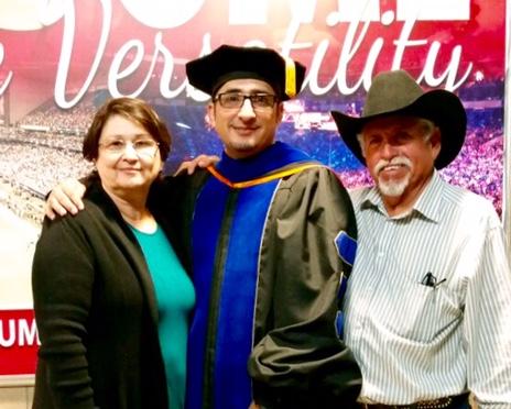 UTSA graduation (Ph.D) with parents: Gloria Hinojosa and Yndalecio Hinojosa.