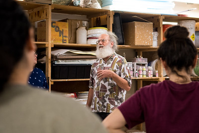 Dr. Louis Katz gives a lecture during his Ceramics I class.