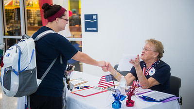 A student registers for voting in next major elections of Texas