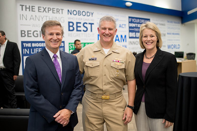 Dean of the College of Business Dr. John Gamble (left), Commanding Officer of NASCC Steve Banta and provost Dr. Kelly Quintanilla.