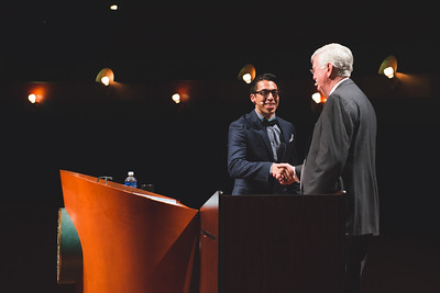 Frank Garcia(left) introduces TAMU-CC President and CEO Flavius Killebrew on stage during the DSS Bill Nye event. Wednesday October 21, 2015.
