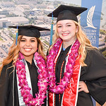 College of Science and Engineering majors Lauren Esquibel (left) and Madison Davis pose for a photo before the Spring 2018 Commencement ceremony held on May 12, 2018.