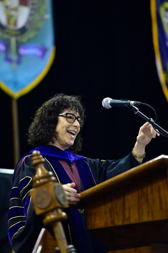 Commencement Speaker Elaine Mendoza, Vice Chair of the Texas A&M University System Board of Regents, addresses over 1,000 graduates at the Spring 2018 Texas A&M University-Corpus Christi Com ...