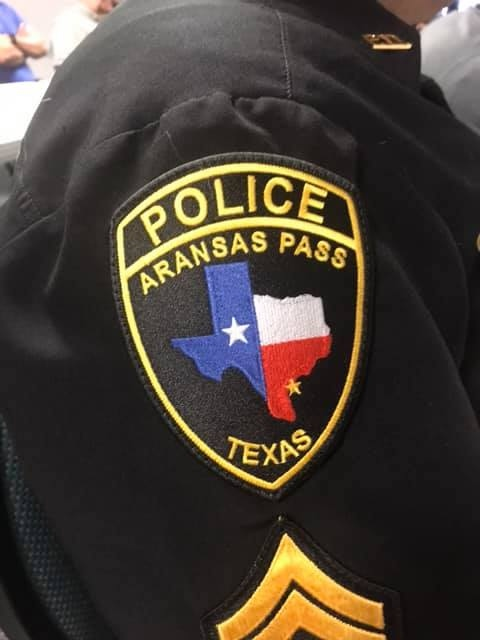 The Aransas Pass Police Department seal, worn on the shoulder. The APPD is dedicated to providing service above self through smart, dynamic, modern, and compassionate policing.