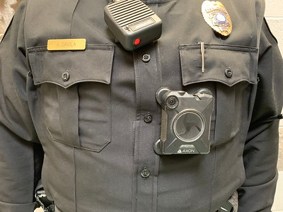 Close-up of the Axon body-worn camera, as modeled by an Aransas Pass police officer.