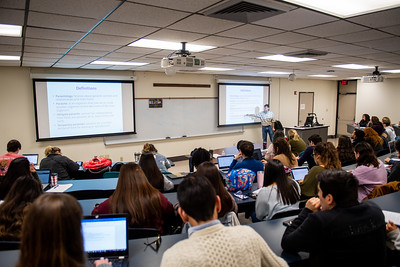 Dr. Fabio Moretzsohn De Castro goes over definitions for the Parasitology course during the first day of the Spring 2019 Semester.