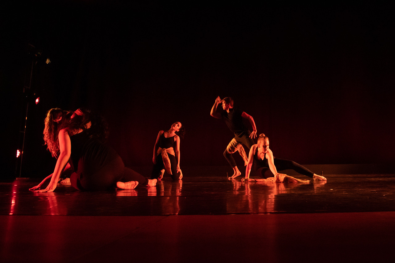 """Dancing Across Borders,"" choreographed by Sarah Gonzalez, Christy Gorman, Andie Purdy, and student dancers, was performed by the World Dance & Culture class in the fall 2018 Island Dance De ..."