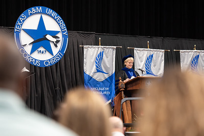 Dr. Kelly M. Miller, President and CEO of Texas A&M University-Corpus Christi, welcomes Islander graduates during the Texas A&M University-Corpus Christi spring 2021 commencement ceremonies.