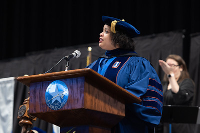 Dr. Clarenda Phillips, Provost and Vice President for Academic Affairs, makes special mention of bachelor degree students who graduated with academic honors.