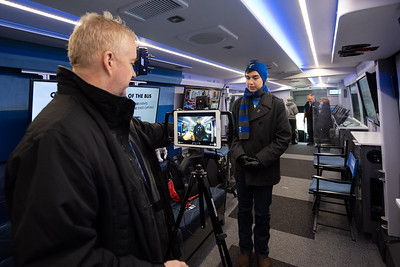 """Doug Hemmig (left) asks Kirk Jorgensen """"What it means to be an American?"""" during the C-Span Bus Tour's stop at TAMU-CC."""