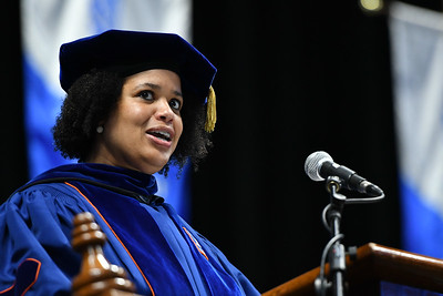 Dr. Clarenda Phillips, Provost and Vice President for Academic Affairs, makes special mention of bachelor's degree students who graduated with academic honors.