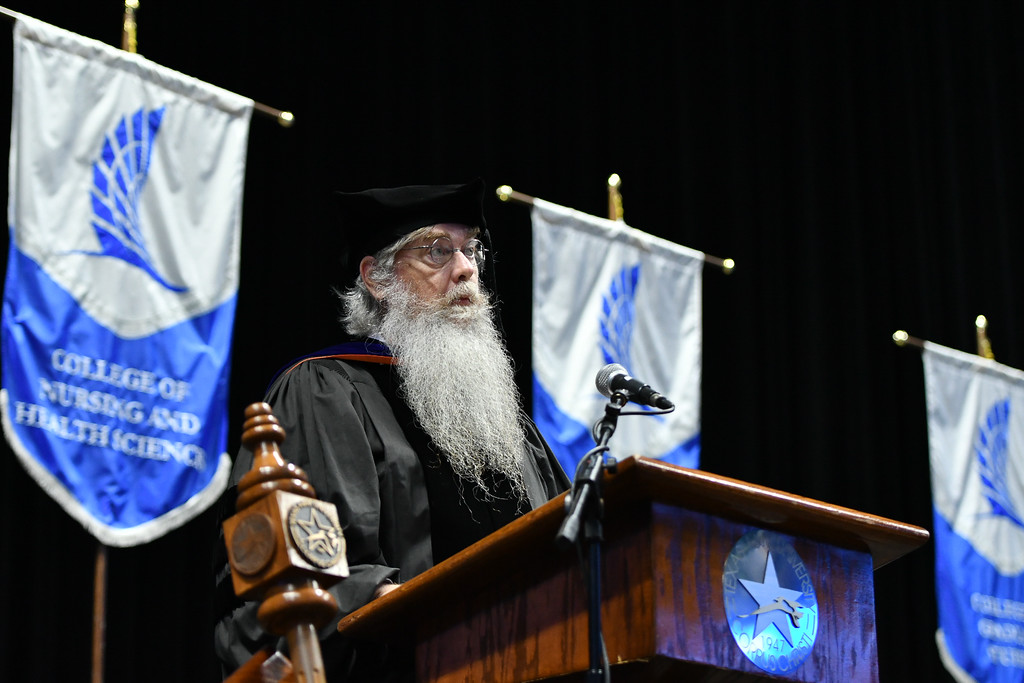 Dr. Blair Sterba-Boatwright, Professor of Mathematics and Statistics in the College of Science and Engineering, addresses summer 2021 graduates during the commencement ceremony at the Americ ...
