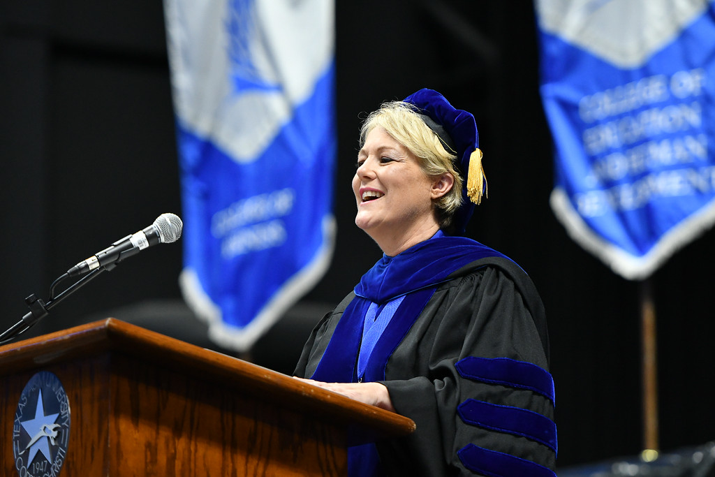 Dr. Kelly M. Miller, President and CEO of Texas A&M University-Corpus Christi, welcomes Islander graduates during the Texas A&M University-Corpus Christi summer 2021 commencement ceremony.