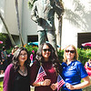 Stephanie Majors(left), Kristeen Gonzalez(middle), and Stephanie Box(right) celebrate Veterans Day in Hector P. Garcia Plaza.