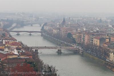 Adige bridges in fog January