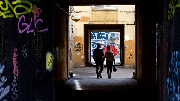 Graffitti in passage yard
