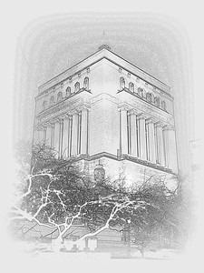 The Indiana War Memorial in Sketch