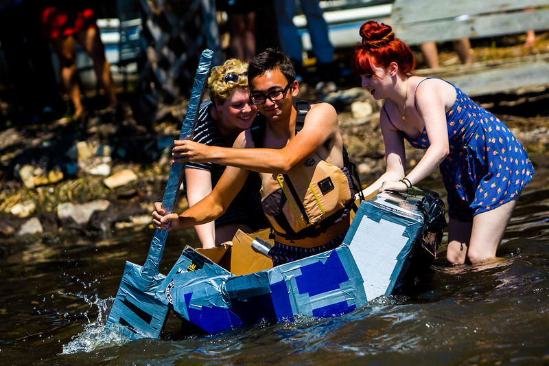 The Waterfront hosts an annual cardboard regatta where students race boats made entirely out of cardboard and duct tape.