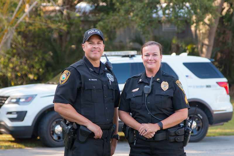 At any campus event, you're likely to find Campus Police officers, like sergeants Marc Mayoral and Kelley Masten participating.
