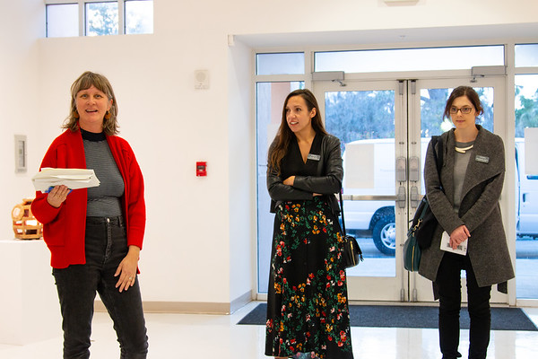 Professor of Art Kim Anderson, far left, prepares to announce the winners of the 2019 Juried Student Art Exhibition along with jurors and Ringling Museum curators Ola Wlusek and Rhiannon Paget.