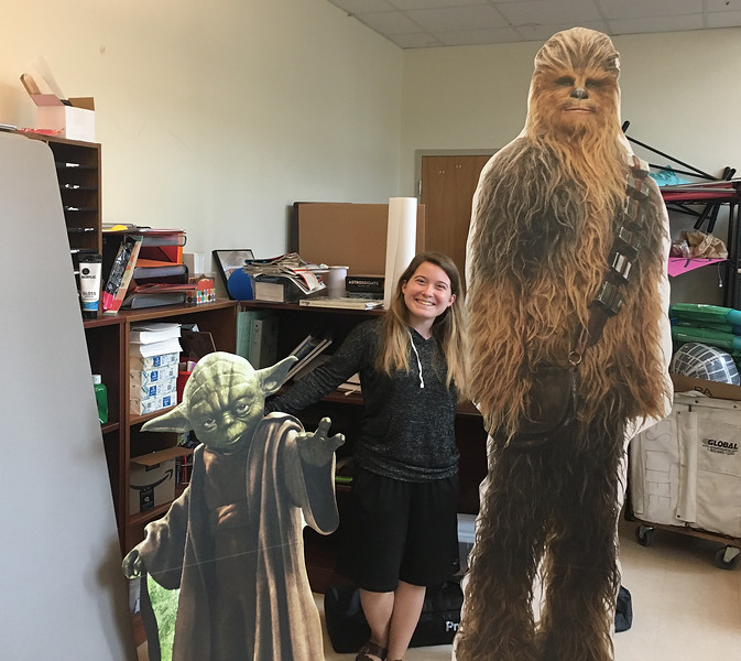 Kallie Delis brought Yoda and Chewbacca to campus from far, far away for the second year of Star Wars celebrations on campus.