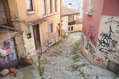 View down a narrow lane, Veliko Tarnovo, Bulgaria.