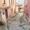 View down a narrow lane, Veliko Tarnovo, Bulgaria.