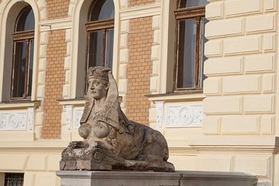 Sculpture in front of a municipal building, Sremski Karlovci, Serbia