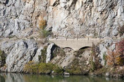 Roadway along the Danube near the Iron Gates.