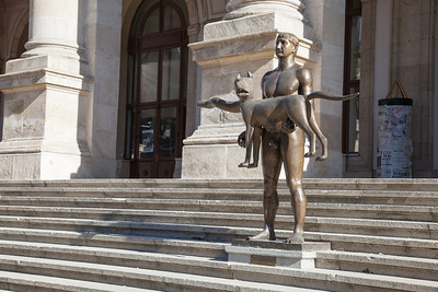 "This sculpture, unveiled outside Bucharest's National History Museum in 2012, portrays a naked Roman emperor Trajan carrying a wolf. It is supposed to represent the fusion of the Roman empire with the ancient tribes of Dacia. But the work by Vasile Gorduz has not been popular, and has been described by residents of Buchrest as a ""monument to Romania's stray dogs"". Gorduz, who died in 2008, was a central figure in Romania's art establishment for decades, and in the 1990s was the professor of sculpture at the National University of Arts in Bucharest."