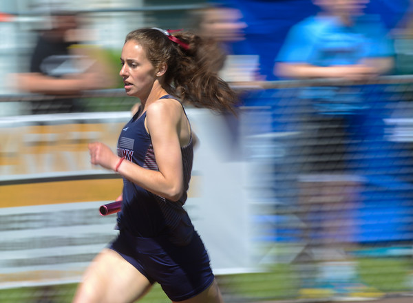 Shikellamy's Macy Carper runs in the 4x800 relay during Saturday's meet at Central Columbia.