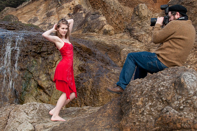 I then moved us to a location near the waterfall. After a quick wardrobe change, I was able to get some fashion in a natural environment.  The day was cloudy, and this shot was all natural light. The flash on the camera was not needed.