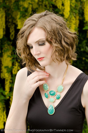 This is a product shot for a local store, showcasing the necklace and dress.   Model: Jessica Hair/Makeup: Stacey Lowe Creative Director: Gabrielle