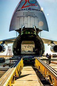 a HDR shot of the unloading of the front end of the Antonov. The create starting out houses a communication satellite.